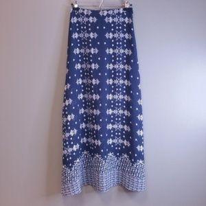 Rue21 Long Sheer Navy/White Floral Skirt Side Slit
